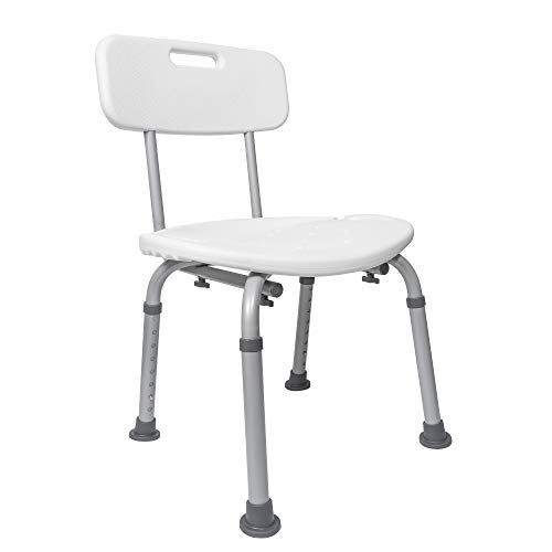 Medical Tool-Free Assembly Spa Bathtub Adjustable Shower Chair Seat Bench with Removable Back
