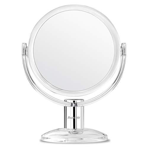 Auxmir Espejo cosmético con Aumento de 1X / 10X Espejo de Maquillaje de Doble Cara, Recargable, Giratorio de 360 ° para el hogar y en Cualquier Lugar,transparente