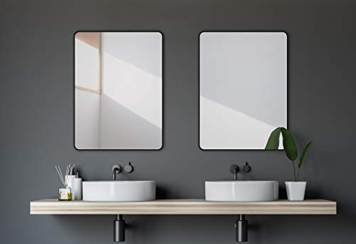 Talos Dekorative Wandspiegel, Hochwertiger Aluminiumrahmen In Matt Schwarz, 80 x 60 cm