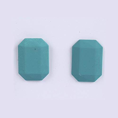 HUYV Stud Earrings For Woman,Fashion Blue Geometric Octagon Earring Stainless Steel Stud Earrings For Summer Accessories Birthday Jewelry Gift Men Girls