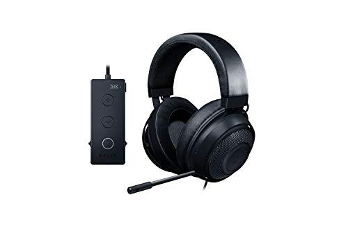 Razer Kraken Tournament Edition Auriculares para juegos deportivos auriculares con cable para juegos con controlador de audio USB, audio espacial THX, controladores de 50 mm, Negro