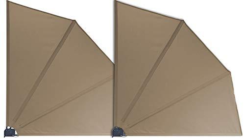 GRASEKAMP Qualität seit 1972 2 Stück Balkonfächer 120 x 120 cm Taupe mit Wandhalterung Schutzhülle Trennwand Sichtschutz