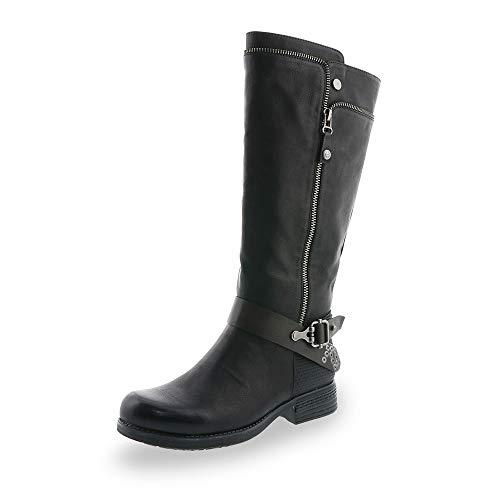 Rieker Damen Stiefel 93272, Frauen Stiefel, langschaftstiefel gefüttert reißverschluss Frauen weibliche Lady Ladies,schwarz,40 EU / 6.5 UK