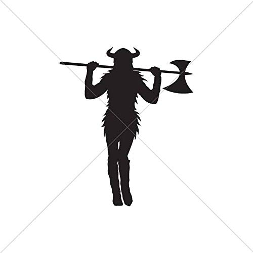 Decoration Vinyl Sticker Sexy Woman Celtic Corsair Viking Warrior Valhalla Valhšll Horned Helmet Decoration Motorbike 3 X 2,52 in.