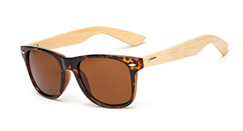 JIAYUE Gafas de sol de madera Hombres Mujeres Square Bambú Mujeres para Mujeres Hombres Espejo Gafas de sol Gafas deportivas retro