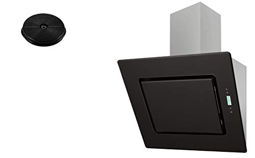 respekta Umluftset_CH99040-60S+MIZ0023 Dunstabzugshaube Schräghaube kopffrei schwarz 60 cm + Aktivkohlefilter