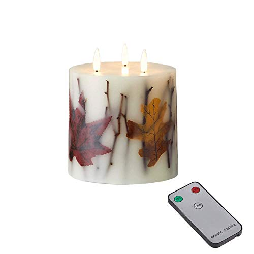 Fall Leaf 3 Wick Flameless Candles with remote, 4.5 inch Large Ivory Wax Battery Operated Pillar Candle with Remote for Decoration, Wedding(Maple Leaf)