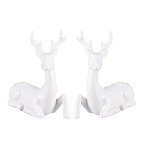 Amosfun 2pcs Deer Figurines Couple Reindeer Ceramic Animal Sculpture for Home Decor Car Dashboard Valentines Day Birthday Wedding Gifts White