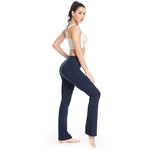 Houmous S-XXL Petite/Regular/Tall Length, Women's Yoga Bootleg Pants Inner Hidden Pocket Workout Pants(Tall-35 Inseam-Blue, XX-Large)