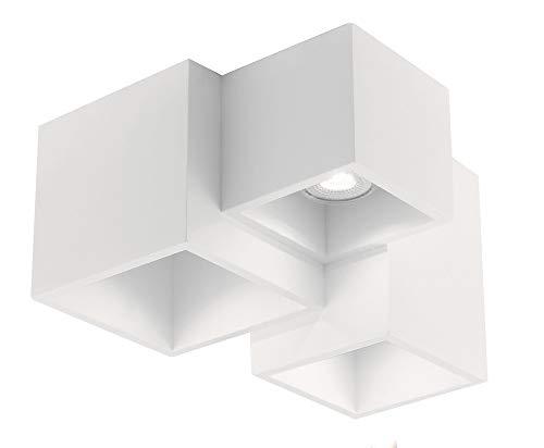 Plafoniera moderna cubi da soffitto in gesso verniciabili design originale 3xgu10 led per interni