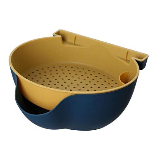 Canasta de drenaje de verduras y alimentos de doble capa Caja de almacenamiento de bocadillos de frutas creativos Cuencos Canasta de lavado de cocina Almacenamiento de alimentos en el hogar (A)