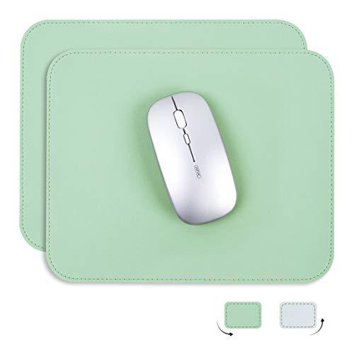 YSAGiマウスパッド、滑り止め/防水PVCレザー、コンピューターマウスパット、極めて薄い(二枚) (四角型, 緑色)