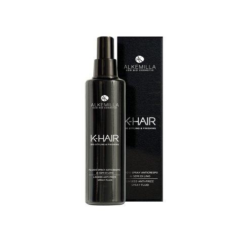 ALKEMILLA - K-Hair - Spray Defrisant aux Graines de Lin - Formule Légère pour les Cheveux Doux et Hydratés - Vegan, AIAB, Testé au Nickel - 100 ML