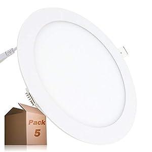 Placa LED 20W Circular SuperSlim (Pack 5) Panel Downlight LED Empotrado Φ225mm Blanco Frío 6000k-6500k 1800 Lúmenes ONSSI LED