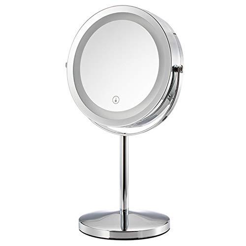 Ssys Espejo para Maquillarse,Espejos para Afeitado,Espejos De Mesa con Luz,Soporte Ajustable De 360 Grados para Encimera Espejo Cosmético De Maquillaje,para Afeitado Y Cuidado Facial,3X