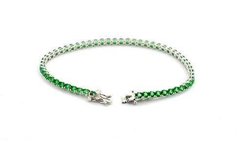 BBracciale tennis con zirconi a griffe color smeraldo da 3MM in argento 925 sterling anallergico placcato in oro bianco misura 18cm