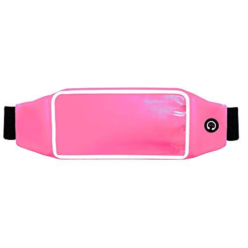 axelens Bolsa del Cinturón Universal Pantalla Táctil para Smartphones hasta 5.7 Pulgadas Waterproof Impermeable Sport Deporte - con Correa de la Cintura Ajustable - Rosa Brillante