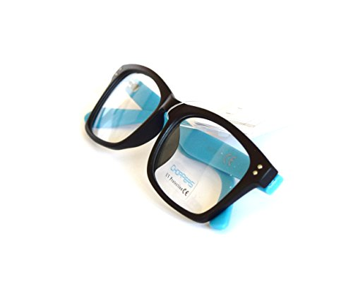 Gafas de pasta sin graduar unisex con funda 43MM (Negro-patilla turquesa)