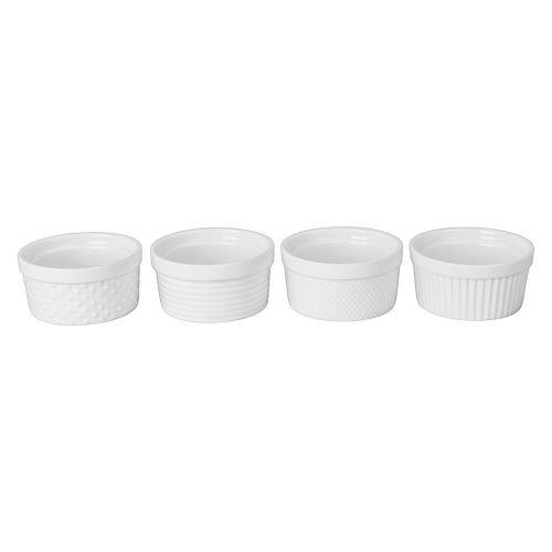 6 Oz White Porcelain Assorted Textured Ramekins