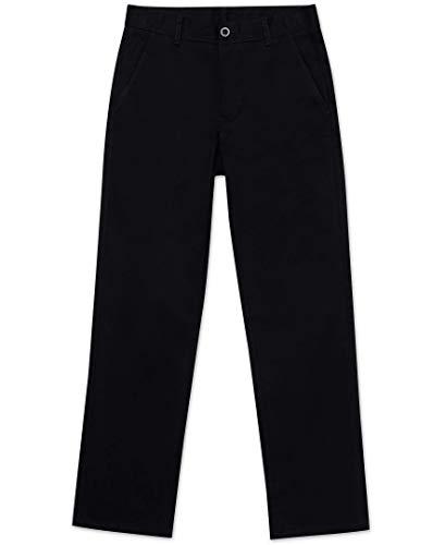 Nautica Husky Boys' Uniform Flat Front Pant, Black, Small/10- Husky