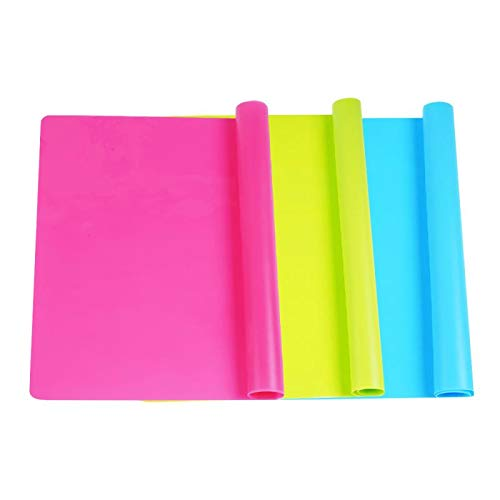 """3 Pack Large Silicone Sheets for Crafts, Liquid, Resin Jewelry Casting Molds Mat, Multi-Purpose Food Grade Silicone Placemat. 15.7"""" x 11.8"""" (Blue & Rose Red & Green)"""