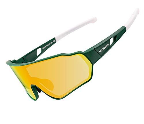 ROCKBROS Polarisierte Sonnenbrille Damen Herren Fahrradbrille Sport Brille UV400-Schutz für Radfahren Laufen Klettern Angeln Golf Grün Weiß
