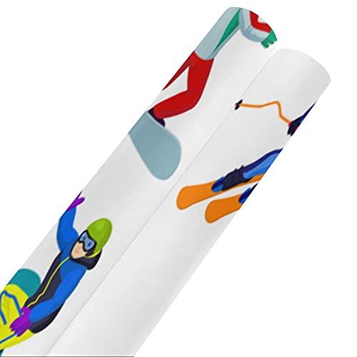 Esquiadores y snowboarders - Papel de seda para regalo de dibujos animados de 58 x 23 pulgadas, 2 rollos, juego de papel para envolver regalos, juego de papel para envolver para el día de l