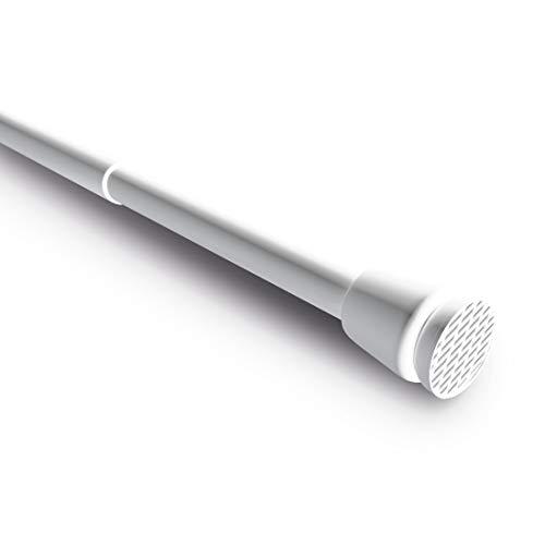 Levivo Barra de cortina, también como barra para cortinas de ducha o perchero, largo variable debido a la sencilla barra telescopio extensible, de aluminio, Blanco, 105-180 cm