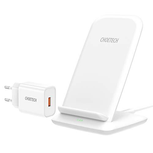 CHOETECH Fast Wireless Charger mit QC 3.0 Adapter, 15W/10W/7.5W Induktive Ladestation,7.5W Qi Ladegerät für iPhone 12/SE/11/11Pro/11Pro Max/XS/XS Max/XR/X/8, 10W für Samsung, Huawei, 15W für LG,Sony