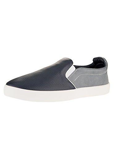 oodji Ultra Hombre Zapatillas Slip On de Tres Colores de Piel Sintética, Azul, 46 EU / 11 UK