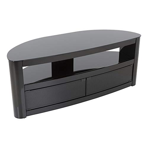 Burghley Affinity Curved TV Stand 1250 Piano Black/Black Glass