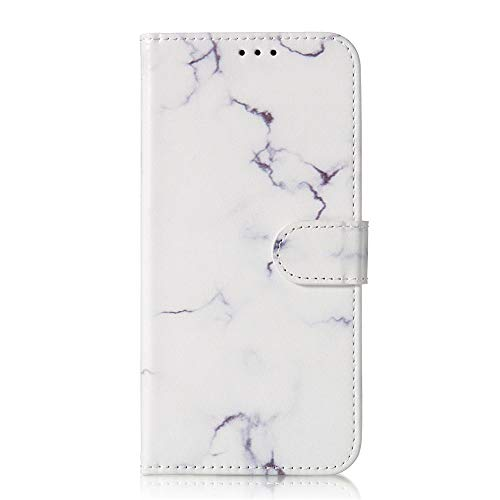 JZ For para iPhone 11 Marble Wallet Funda For para iPhone 11 Painted Flip Cover with Kickstand/Magnetic - White Marble
