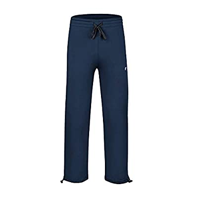 EZRUN Boy's Fleece Lined Pants Athletic Training Warm Up Jogger Sweatpants with Zip Pockets(Navy L)