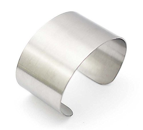 COUYA Silver Wide Grooved Cuff Bangle for Women Girls Stainless Steel Shiny Punk Bracelet silver