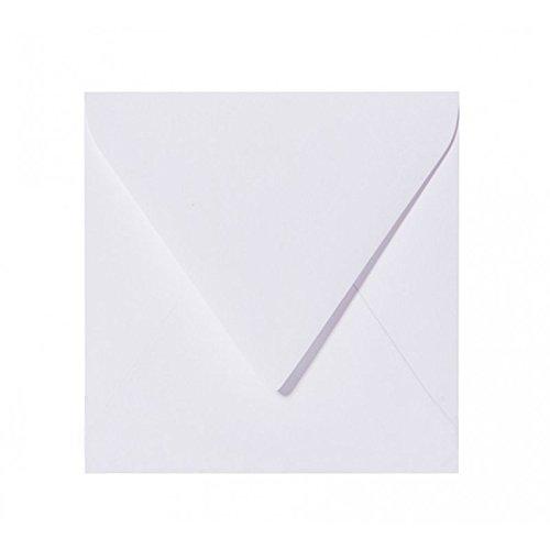 50 enveloppes carrés - blanc - 120 g/m² - 150 x 150 mm 15 x 15 cm - adhésif humide patte triangulaire - pas de fenêtres