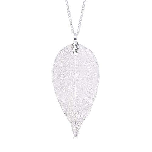 Minshao Damen-Halskette mit Anhänger mit Blättern, lange Kette