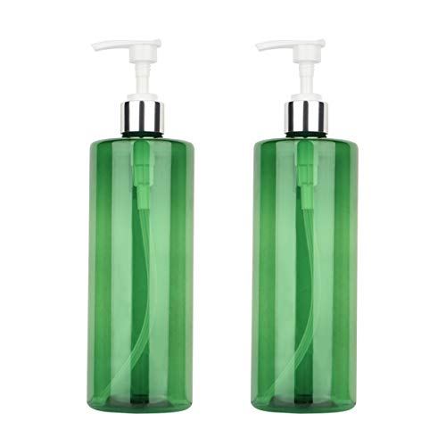 Driew Pump Bottle, Pump Bottles for Shampoo 17oz Pack of 2 (Green with White Pump)