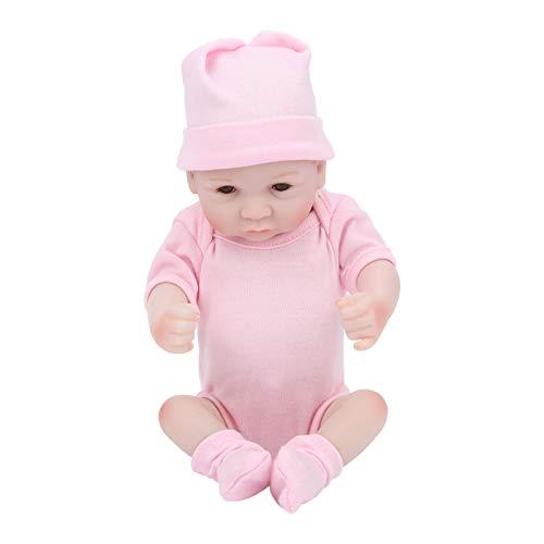 Reborn Baby Dolls, Baby Dolls Niñas Muñeca de juguete Silicona Baby Doll Baby Doll Set, Silicona para regalos de vacaciones(pink, Eyes open)