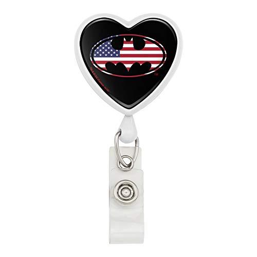 Batman USA American Flag Shield Logo Heart Lanyard Retractable Reel Badge ID Card Holder