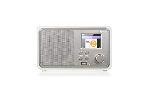 Xoro HMT 300 Internet Radio (2,4 Zoll Color LCD, BT, MP3 Playback, USB charging, RC, 1x 3W, Holzoptik) white