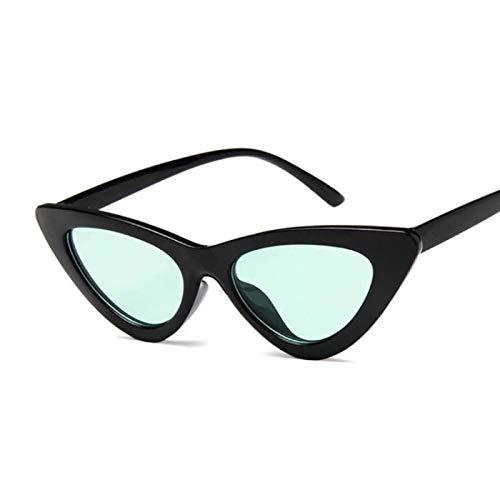 NJJX Gafas De Sol Triangulares De Ojo De Gato De Tamaño Pequeño Para Mujer, Gafas De Sol Con Lentes De Color Teñidas, Gafas De Sol Con Montura De Mujer Vintage A La Moda, Sombras, Negro, Verde