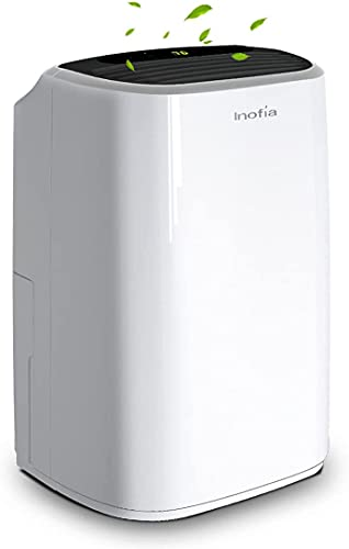 Inofia 30 Pints Dehumidifier Mid-Size Portable For Basements and Large Rooms, Intelligent Humidity Control For Space Up To 1056 Sq Ft, Continuous Drain Hose Outlet for Bathroom Basements Garage