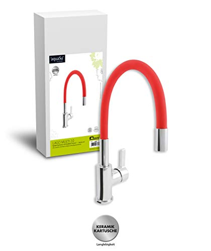'aquaSu® 78887 8 Lago Multi 2.0 Spültischarmatur | Einhandmischer für Küchenspüle | Rot/Chrom