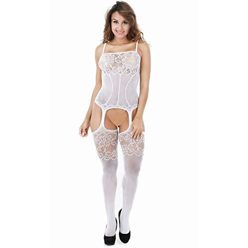 Creamlin Damen Hosenträger Höhle aus Body-Strumpf Sexy Dessous (Weiß)