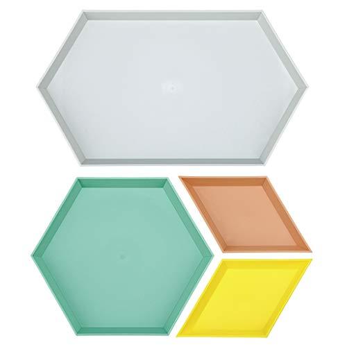 Sumnacon - Bandeja de plástico apilable para joyas geométricas, organizador de accesorios de escritorio, juego de 4 unidades, color gris, verde, marrón y amarillo