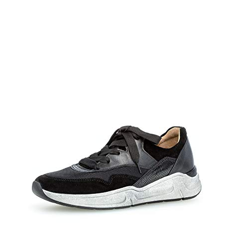 Gabor Damen Sneaker, Frauen sportlicher Schnürer,Comfort-Mehrweite,Optifit- Wechselfußbett, freizeitschuh keil keil-Absatz,schwarz,38 EU / 5 UK