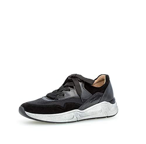 Gabor Mujer Zapatos con Cordones, señora Zapatos Deportivos,Zapatos Bajos,Zapatillas de cuña,Zapatillas de tacón de cuña,Schwarz,40 EU / 6.5 UK