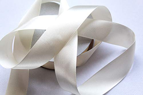 CaPiSo Satinband 25m x 25mm Taftband Schleifenband Satin Geschenkband DEKOBAND (Creme)