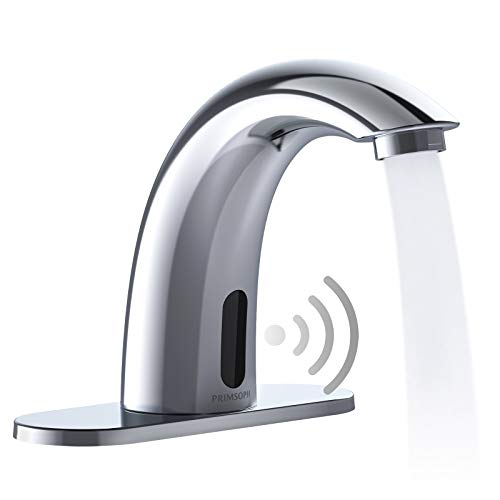 PRIMSOPH Automatic Motion Sensor Touchless Bathroom Sink Faucet with Hole Cover Plate,Battery or Plug-in Powered with Control Box and Temperature Mixer,Hands Free Bathroom Tap,Chrome , Cupc Listed