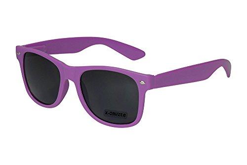 X-CRUZE® 8-075 - Gafas de sol nerd retro vintage unisex hombre mujer gafas nerd - lila